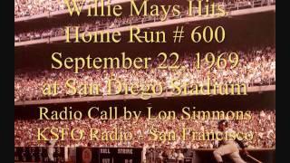 Willie Mays Hits Home Run # 600.