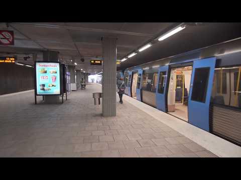 Sweden, Stockholm, subway ride from Farsta Strand to Farsta Centrum