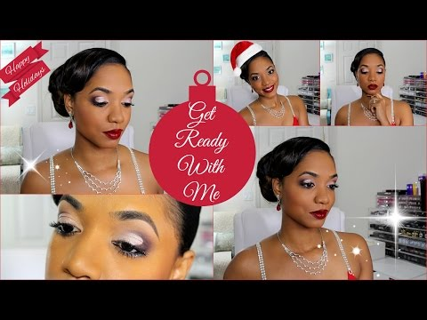 🎄 Get READY With ME 🎄 HOLIDAY PARTY 🎄 Simple Cut Crease + OUTFIT - 동영상