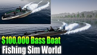 Fishing Sim World $100,000 boat  - best boat in game + Best outfits