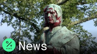 Christopher Columbus Statue in Virginia Set On Fired And Dumped in Lake (AP) A statue of Christopher Columbus in Virginia was torn down by protesters on Tuesday, set on fire and then thrown into a lake. It happened in Richmond ...
