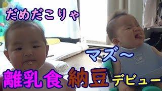 【離乳食】初めての納豆!男女ふたごの反応は?mix twins The first natto thumbnail
