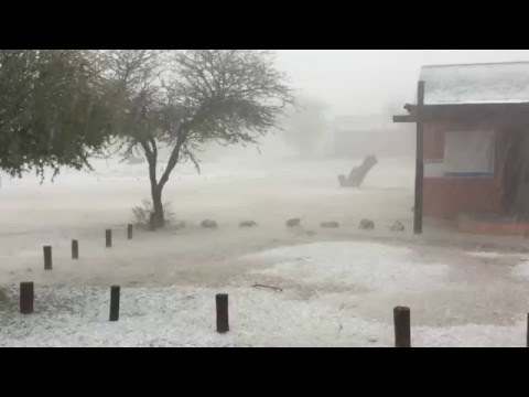 Kgalagadi Nossob Office being pelted with hail 7 April 2016