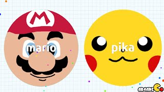 Super Mario Team Up Pikachu 1ST PLACE AGARIO Battle!