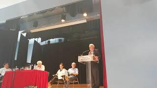 Ο Νίκος Μερτζος  στην ομιλία του για τον εμφυλιο Φλώρινα