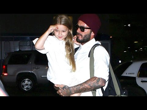 David Beckham Carries Daughter Harper Through LAX
