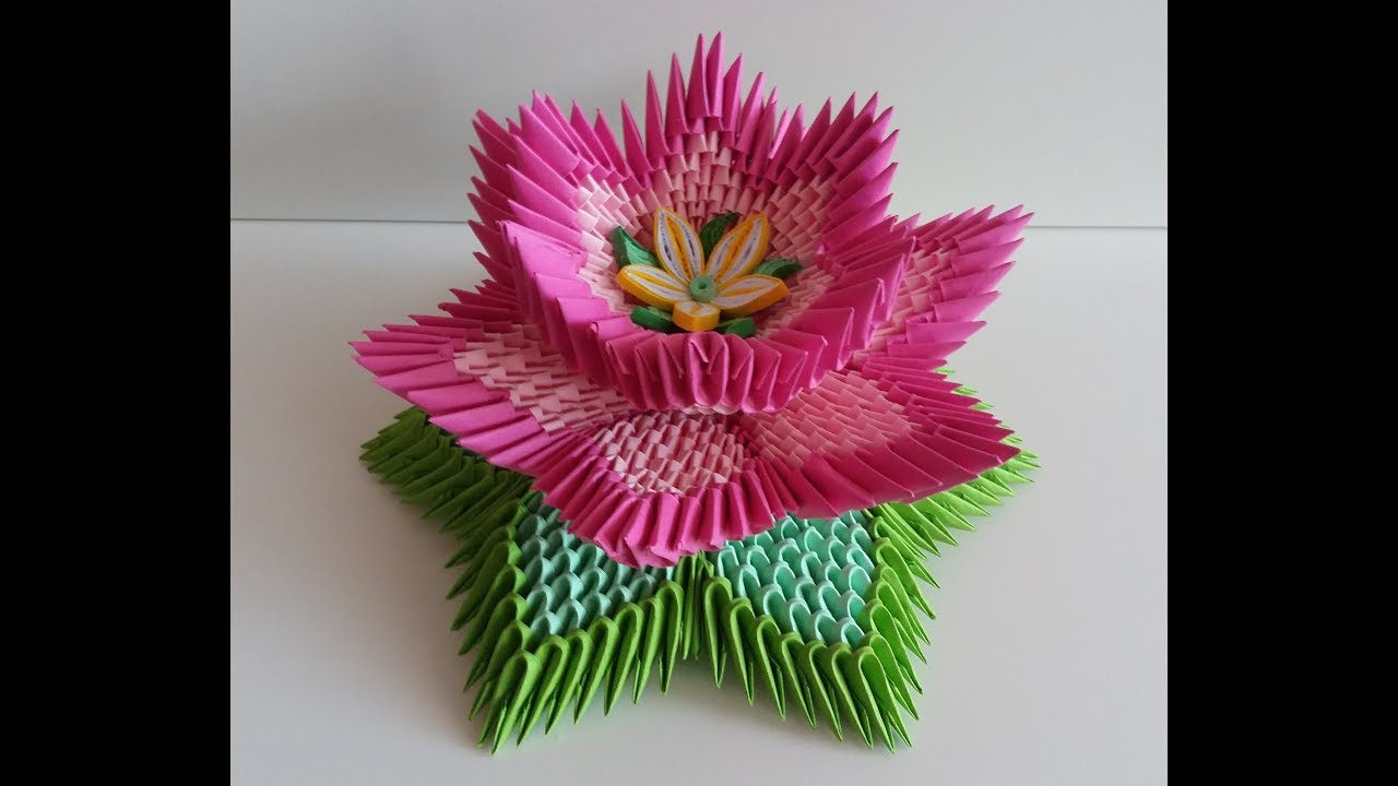 Fleur De Lotus Lotus Flower Origami 3d Youtube
