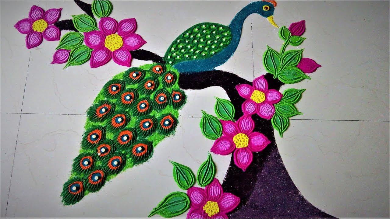 Image result for peacock rangoli