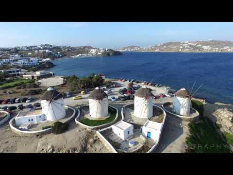 Drone view of Mykonos Greece HD