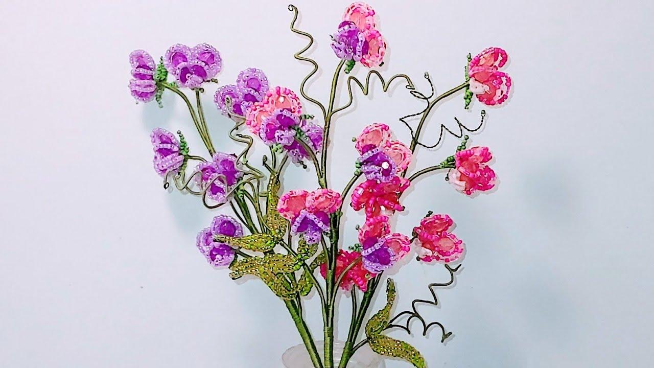 #цветы ДУШИСТЫЙ ГОРОШЕК ИЗ БУСИН И БИСЕРА. Легко и Просто МК от Koshka2015 - цветы из бисера, Бисер