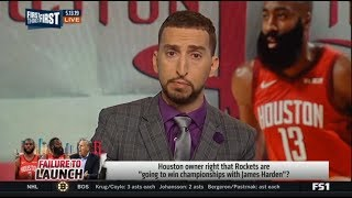 """FIRST THINGS FIRST   Rockets owner: We're going win championships with Harden"""" GSW def HOU 118-113"""