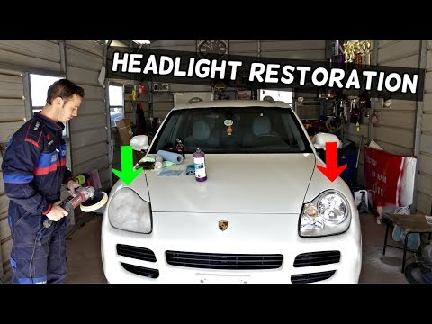 HOW TO RESTORE YELLOW FADED HEADLIGHTS demonstrated on Porsche
