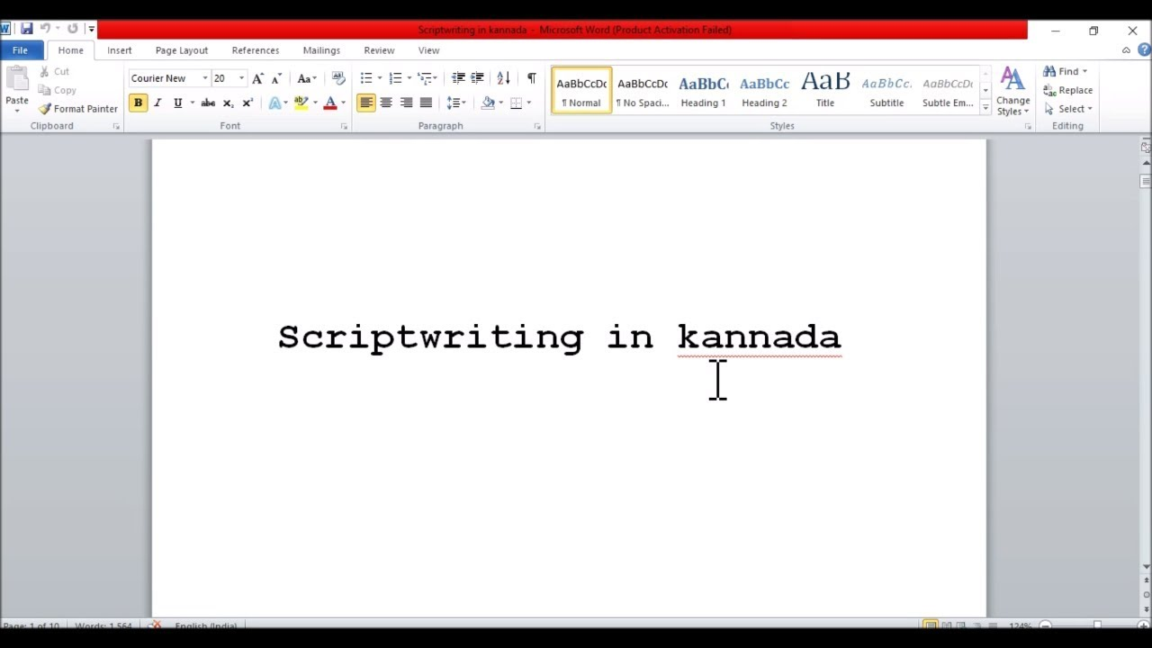 Script writing for beginners in kannada - YouTube