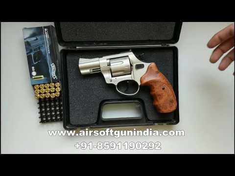 wodden grip zoraki r1 2 5 inch nikel blank firing revolver by airsoft gun  india