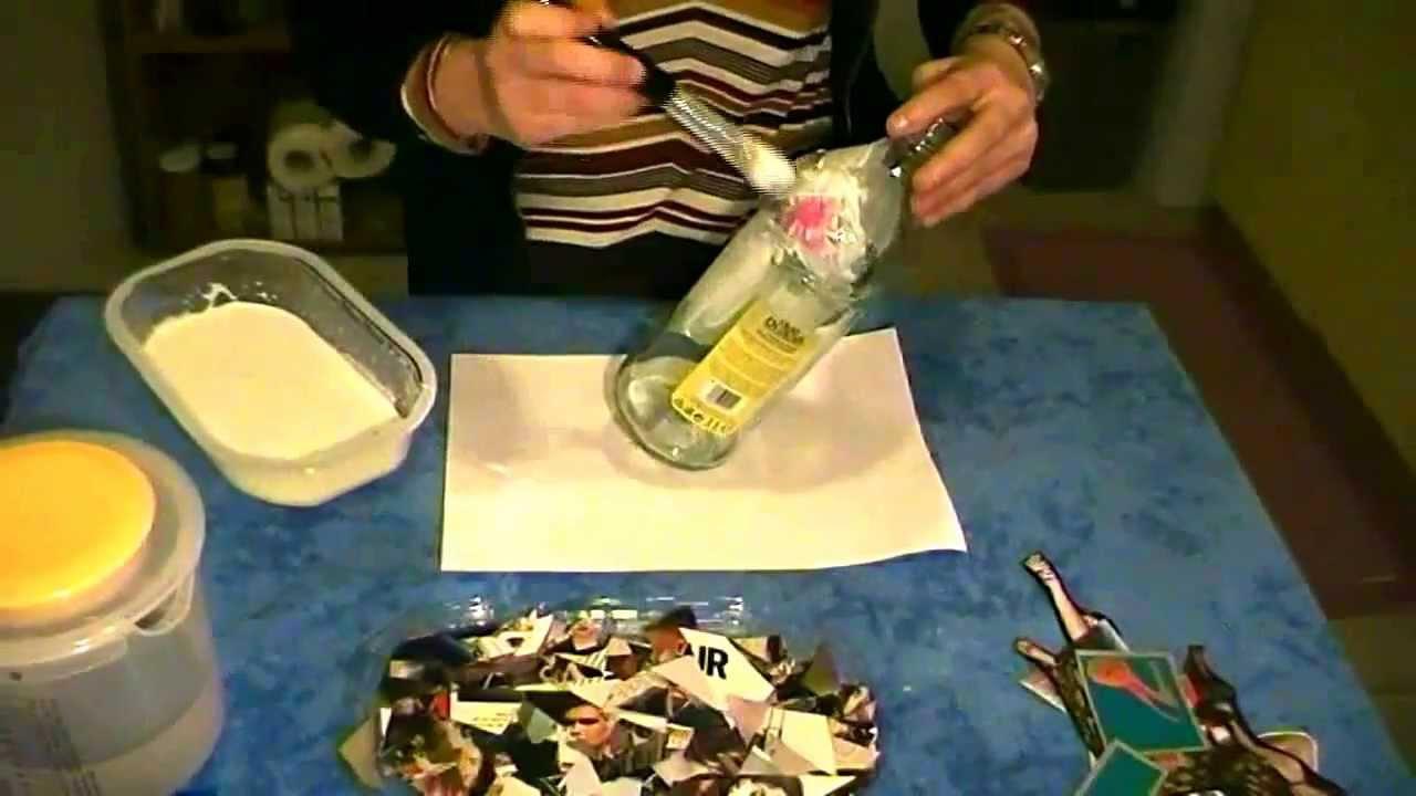 Riciclo Creativo  Decoupage Bottiglia di vetro  YouTube