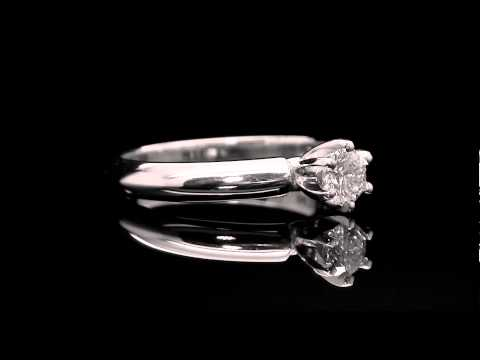 1/3 CT 6-Prong Solitaire Round Cut Diamond Engagement Ring in 14K White Gold