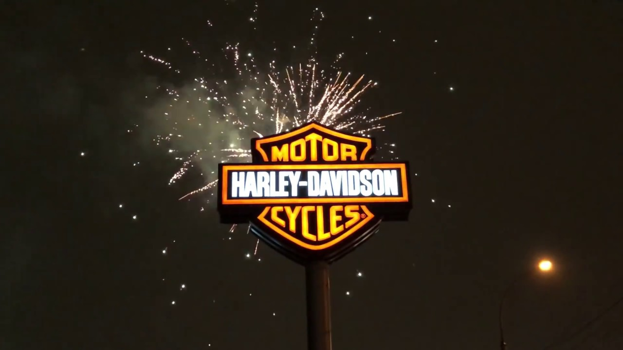 happy new year fireworks harley davidson novosibirsk