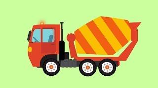 Мультик БИБИКА Большие строительные машины: Бетономешалка, Бульдозер, Экскаватор, Кран
