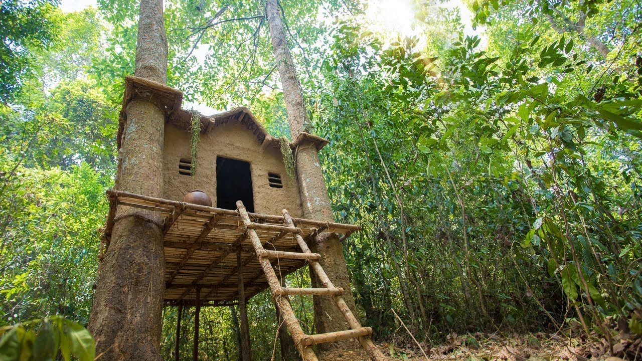 Build The Most Beautiful Epic Tree House In Deep Jungle By Ancient Skill