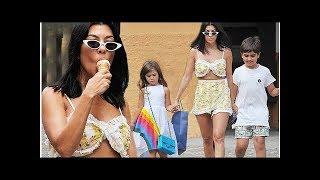 Kourtney Kardashian enjoys an ice-cream in Portofino with children
