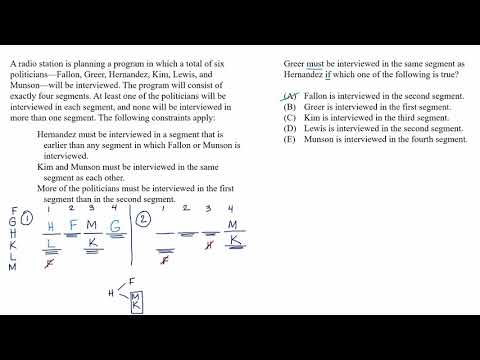 Mixed setup | New info: must be true example | Analytical Reasoning | LSAT | Khan Academy