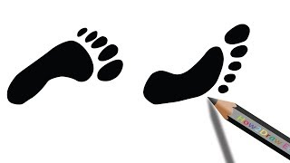 How to Draw Footprints | Easy Silhouette Drawing
