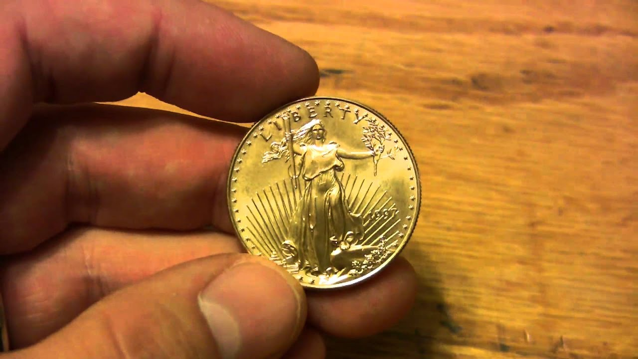 Gold Bullion Detail Of 1 Ounce Eagle Coin