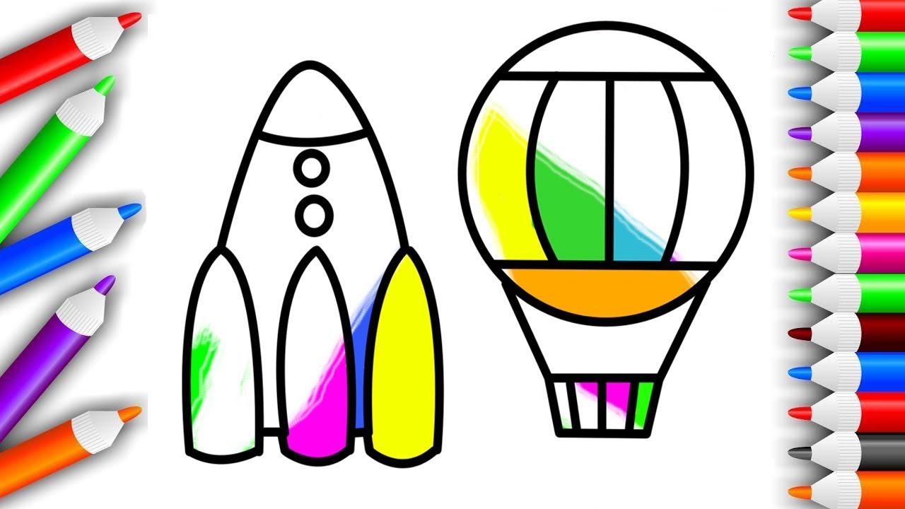 Мультики. Раскраски. Учим цвета. Ракета + Воздушный шар ...