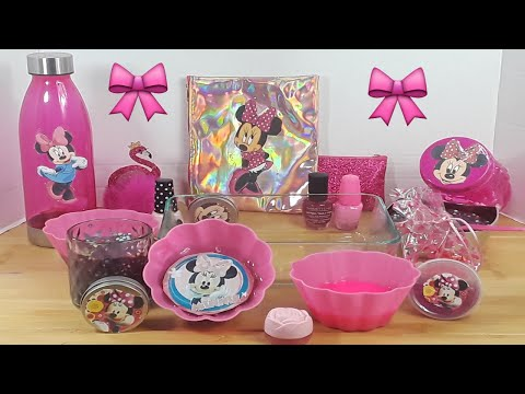 Making Minnie Mouse Slime and MIXING Random Things into Slime ASMR! Satisfying Slime Video #18