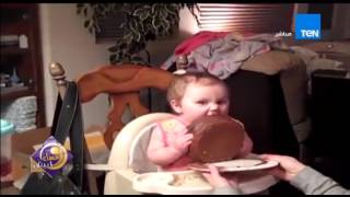 """طفلة تتذوق """"كيكة الشوكولاتة"""" لأول مرة"""