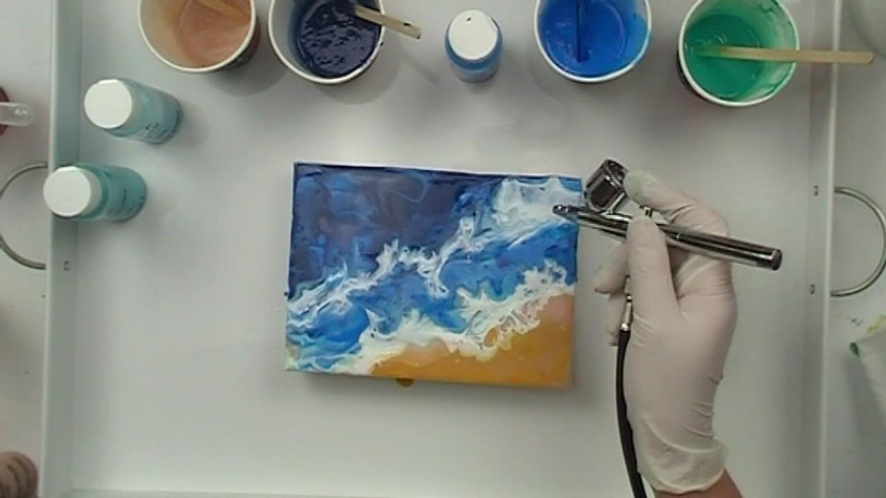 acrylic pour new technique beach scene youtube