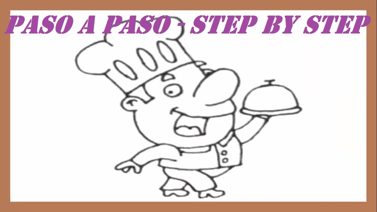 how to draw a girl chef step by step