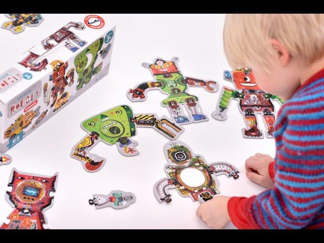 Układam roboty - CzuCzu 🤖 Zestaw 65 puzzli które można dowolnie łączyć - zabawkitotu.pl