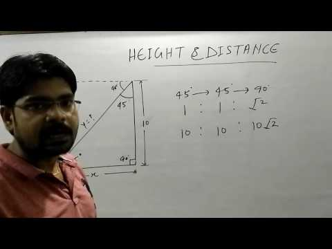 ऊँचाई एबं दूरी एक ट्रिक में खत्म,(Height and Distance tricks)