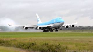 KLM Boeing 747-400 landing at Johan Adolf Pengel International airport thumbnail