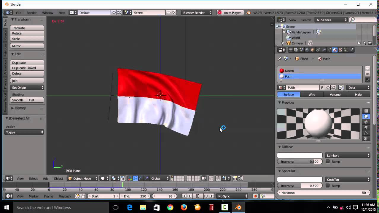 Tutorial Bendera Berkibar Di Aplikasi Blender Untuk Pemula Youtube