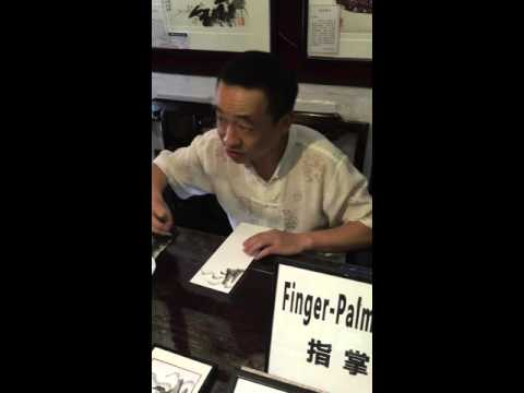 Artist Demonstration of Finger Painting with ink in Suzhou City