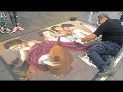 Caravaggio I musici - the musicians street art Napoli (stupendo!)