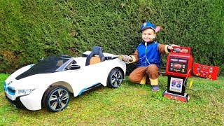 The fuel was over on BMW car FUNNY BABY Paw Patrol Ride on POWER WHEEL Tractor and towing car
