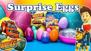 GIANT SURPRISE EGGS Disney Giant Surprise Egg Pizza & Candy Bars with Blaze, Disney Frozen Surprise
