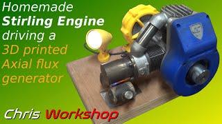 Mini générateur électrique à moteur Stirling - Mini generator powered by Stirling engine