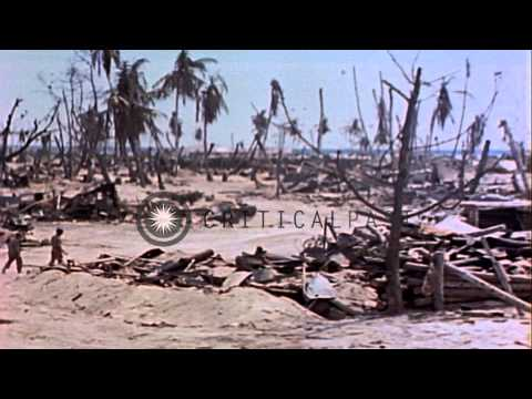 Wreckage on island after battle between marines and Japanese troops, Tarawa Islan...HD Stock Footage