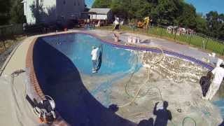 remodeling a pool mans builds his own pool after it was buried 20 years ago