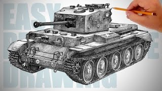 How to draw a tank (Cromwell) - Easy Perspective Drawing 27
