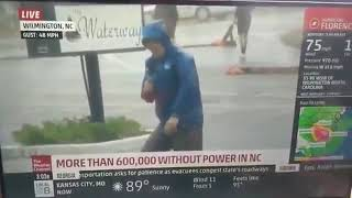 Fake News: Weather Channel during Hurricane Florence Watch the background!!