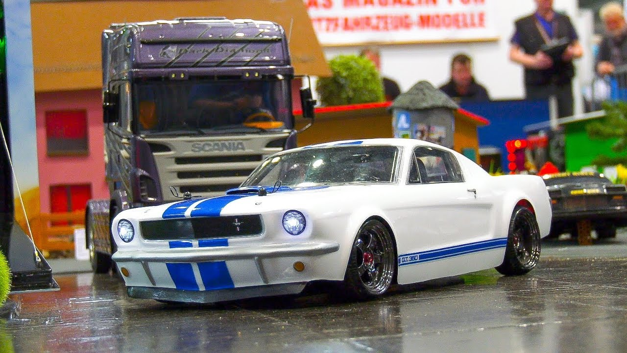 Rc scale model race car ford mustang shelby gt 360 1965 in action