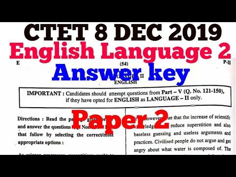 CTET 8 DEC 2019 Answer key || English- language 2 || Paper ...