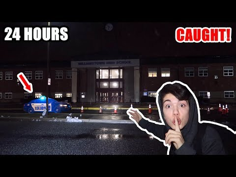 24 Hour OVERNIGHT Challenge In My SCHOOL! *CAUGHT*