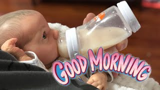 Morning Routine Of Newborn Baby! Reborn Baby That Opens & Closes His Eyes