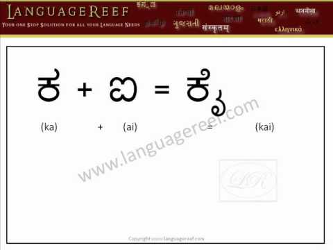 Learn Kannada vowel signs with audio and transliteration - Learn Indian Language Series